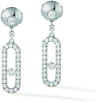 Messika Move Uno 18k White Gold Diamond Hoop Earrings