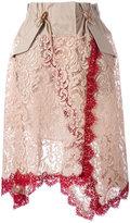 Sacai lace overlay military waist skirt - women - Cotton/Leather/Nylon/Rayon - 1