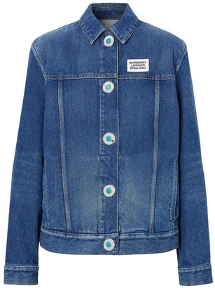 Burberry Logo Applique Reconstructed Denim Jacket