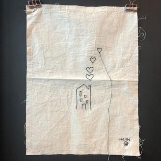 Lemonwise - Stitched Art House Hearts - cotton