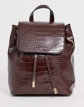 Asos Design DESIGN croc backpack-Brown