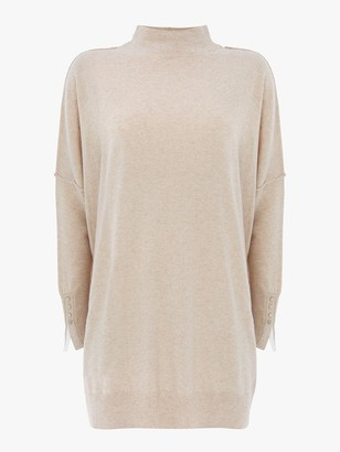 Mint Velvet Funnel Neck Long Jumper - Beige