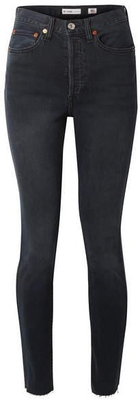 RE/DONE Originals High-rise Ankle Crop Frayed Skinny Jeans - Black