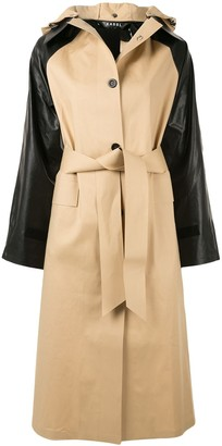 Kassl Editions Contrasting Sleeve Trench Coat