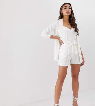 UNIQUE21 lace paperbag waist shorts-White