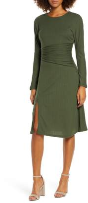 Ali & Jay Sleight of Hand Ruched Waist Long Sleeve Dress