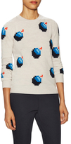 Jil Sander Navy Wool Bomb Intarsia Sweater