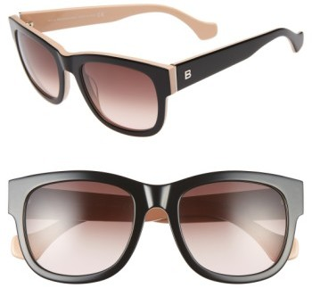 Balenciaga Women's Paris 54Mm Retro Sunglasses - Blue Horn/ Havana/ Smoke