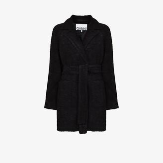 Ganni Boucle Wool Wrap Coat