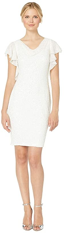 Adrianna Papell Beaded Flutter Sleeve Cocktail Dress