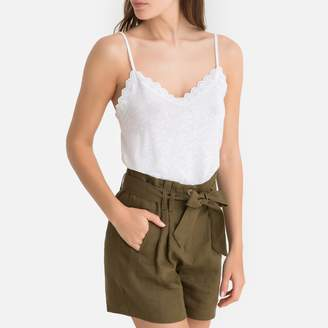 La Redoute Collections Linen Mix Embroidered Cami