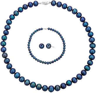 BELPEARL Silver 9-10Mm Freshwater Pearl Necklace, Earrings, & Bracelet Set