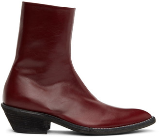 Haider Ackermann Red Evening Chelsea Boots