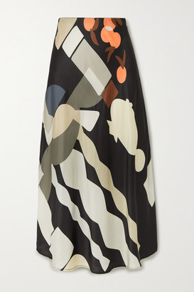 MUNTHE Eastvale Printed Satin Midi Skirt - Black