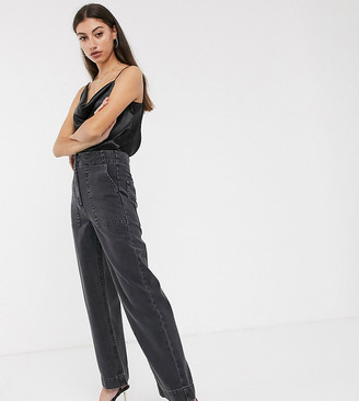 Asos Tall DESIGN Tall Cropped wide leg carpenter jeans in washed black