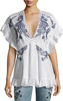 Roberto Cavalli Embroidered V-Neck Cotton Blouse, White