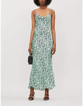Olivia Rubin Lia Zebra-Print Silk-Satin Slip Dress