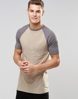 Asos Longline Muscle T-shirt With Contrast Raglan Sleeves In Beige/grey