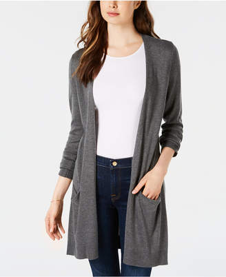 Maison Jules Long Open-Front Jersey Cardigan Sweater