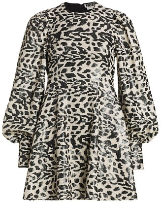 Rotate by Birger Christensen Alison Sequin Leopard Puff-Sleeve Mini Babydoll Dress