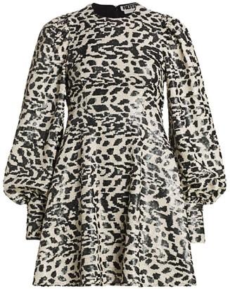 Rotate by Birger Christensen Alison Sequin Leopard Puff-Sleeve Mini Babydoll Dress
