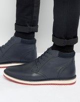 Asos Lace Up Boots In Navy Leather With Ripple Sole