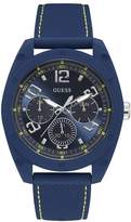 Guess Men's Blue Dial Blue Silicone Strap Watch