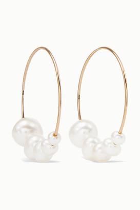 Saskia Diez Gold Pearl Hoop Earrings - one size