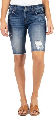 KUT from the Kloth Sophie Distressed Denim Bermuda Shorts