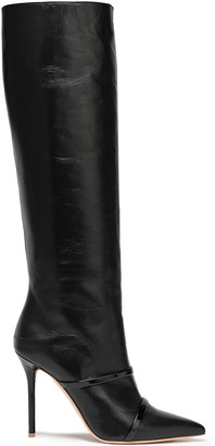 Malone Souliers Patent-trimmed Leather Knee Boots