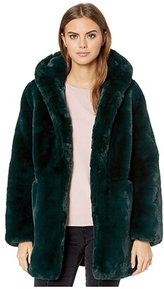 Apparis Maria Hooded Faux Fur Coat (Taupe) Women's Jacket