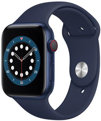 Apple Watch Series 6 GPS + Cellular, 44mm Blue Aluminum Case with Deep Navy Sport Band - Regular