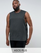 Asos PLUS Sleeveless T-Shirt With Dropped Armhole In Green
