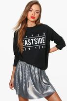 Boohoo Rosie Upper East Side Slogan Sweatshirt
