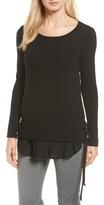 Karen Kane Women's Layer Look Lace-Up Sweater