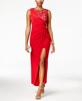 R & M Richards Petite Draped Lace Faux-Wrap Gown