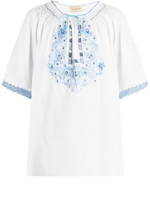 Muzungu Sisters - Eva Embroidered Cotton Top - Blue White