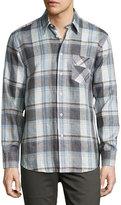 Billy Reid Walland Plaid Linen Sport Shirt, Blue