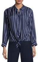 Joie Adiba Double Stripe Tie-Front Silk Blouse