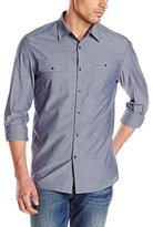 Kenneth Cole New York Kenneth Cole Men's Long Sleeve Chest Pocket Cham Shirt