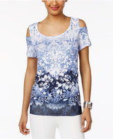 JM Collection Petite Printed Cold-Shoulder Top, Only at Macy's