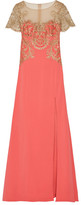 Marchesa Embroidered Tulle And Stretch-crepe Gown - Coral