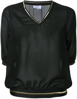 Lydia L. sheer V-neck sweatshirt