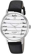 Kate Spade Women's 'Metro' Quartz Stainless Steel and Leather Casual Watch, Color:Black (Model: KSW1348)