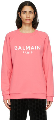 Balmain Pink and White Logo Sweatshirt
