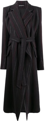 Ann Demeulemeester Striped Belted Coat