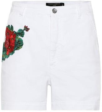 Dolce & Gabbana High-rise embroidered denim shorts