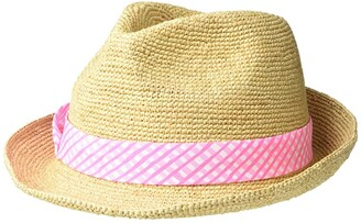 Lilly Pulitzer Poolside Hat (Prosecco Pink Gingham Style) Fedora Hats
