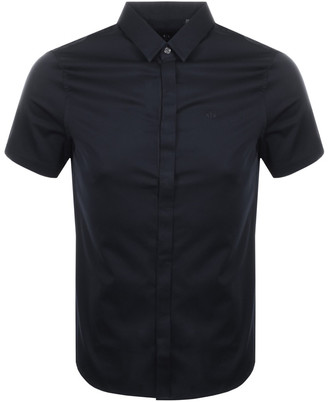 Armani Exchange Slim Fit Short Sleeved Shirt Navy