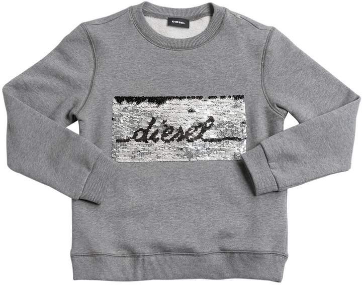 Diesel Logo / Star Sequined Cotton Sweatshirt